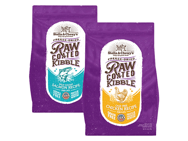Raw Coated Kibble for cats packages