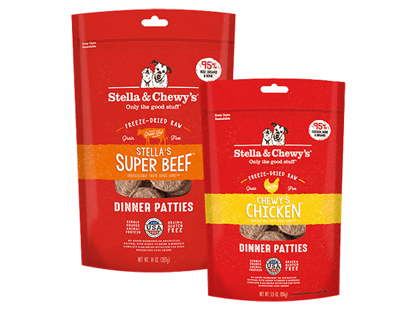 Freeze-Dried Raw Patties for dogs packages